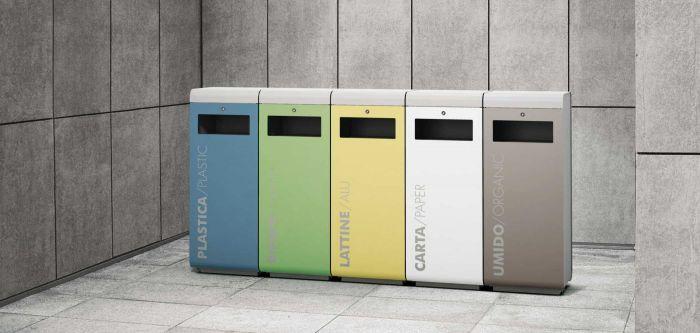 Metalco ecoside cestino differenziata da appoggio e da for Cestini arredo urbano